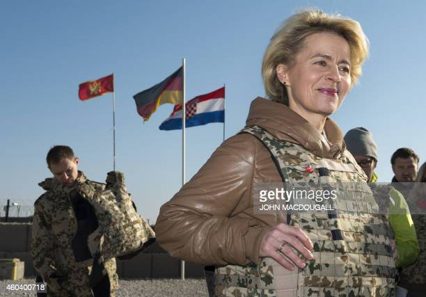 German Defence Minister Ursula von der Leyen arrives at camp Shaheen a training facility of the Afghan National Army outside of Mazare Sharif on...