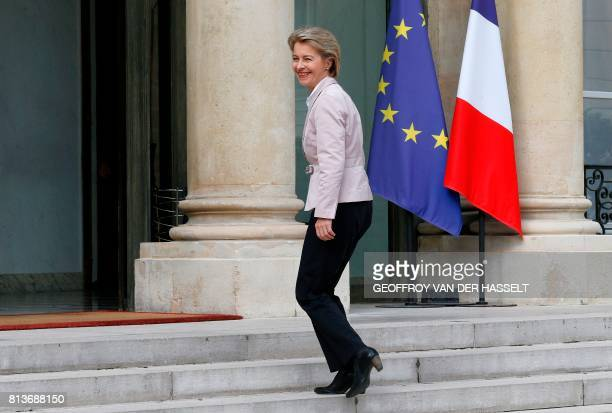 German Defence Minister Ursula von der Leyen arrives for an annual FrancoGerman Summit at the Elysee Palace in Paris on July 13 2017