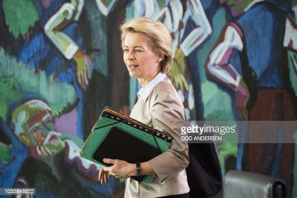 German Defence Minister Ursula von der Leyen arrives for the weekly cabinet meeting at the Chancellery in Berlin on September 19 2018
