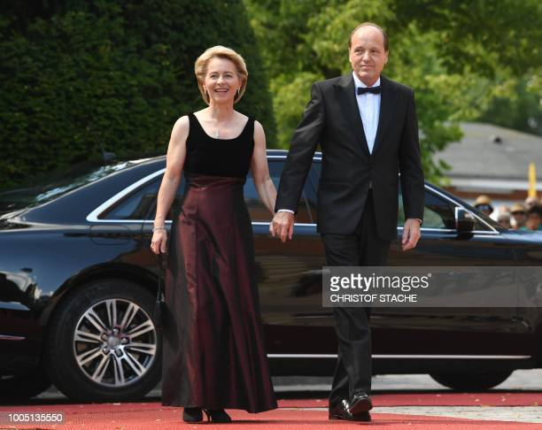 German Defence Minister Ursula von der Leyen arrives with her husband Heiko von der Leyen for the opening of the annual Bayreuth Festival featuring...