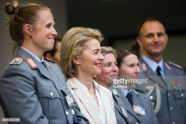 German Defence Minister Ursula von der Leyen attends a ceremony to honour the members of the Bundeswehr who attended the Winter Olympic Games in...