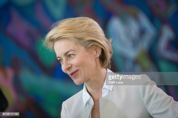 German Defence Minister Ursula von der Leyen attends the weekly government cabinet meeting on August 2 2017 in Berlin Germany Germany's car industry...