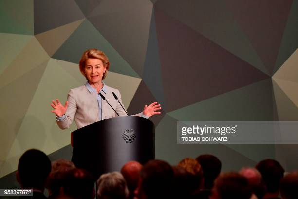 German Defence Minister Ursula von der Leyen delivers a speech on defence policy on May 14 2018 in Berlin