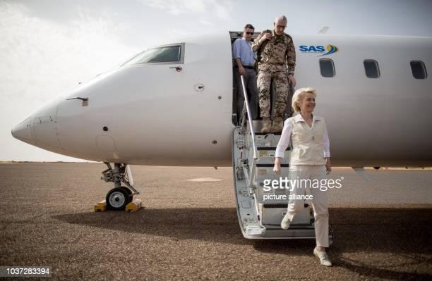 German defence minister Ursula von der Leyen exits an aircraft followed by lieutenant general Markus Kneip inGao, Mali, 05 April 2016. Von der Leyen...