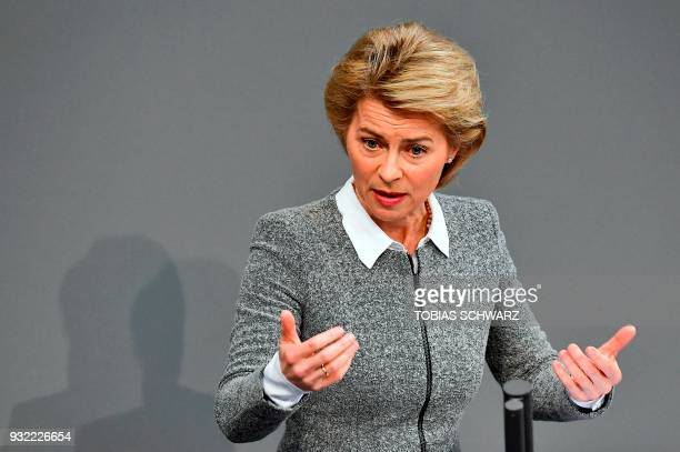 German Defence Minister Ursula von der Leyen gestures as she speaks during a session of the German Parliament in Berlin, on March 15, 2018 one day...