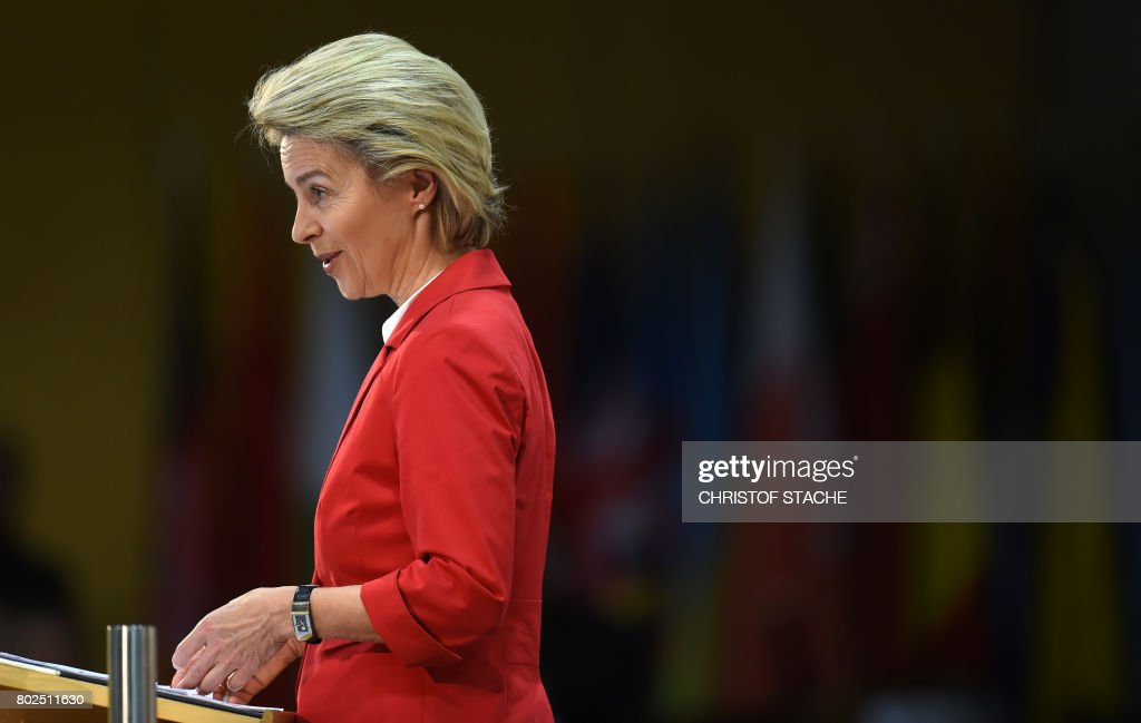 German Defence Minister Ursula von der Leyen gives a speech during a ceremony to commemorate the 70th anniversary of the Marshall Plan to rebuild a ravaged Europe after World War II at the George C Marshall European Center for Security Studies in Garmisch-Partenkirchen, southern Germany, on June 28, 2017. / AFP PHOTO / Christof STACHE