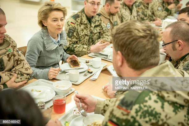 German Defence Minister Ursula von der Leyen has breakfast together with German soldiers as she visits Camp Marmal of the German armed forces...