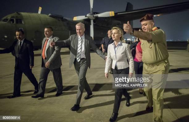 German Defence Minister Ursula von der Leyen is met by German ambassador Franz Josef Kremp and Iraqi General Salah alDin upon her arrival in Iraq for...