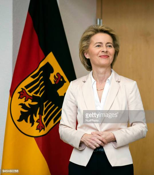 German Defence Minister Ursula von der Leyen is pictured during a ceremony to honour the members of the Bundeswehr who attended the Winter Olympic...