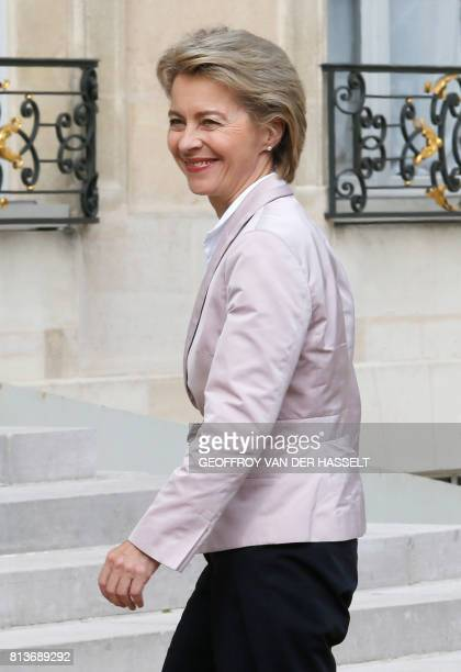 German Defence Minister Ursula von der Leyen smiles as she arrives for an annual FrancoGerman Summit at the Elysee Palace in Paris on July 13 2017