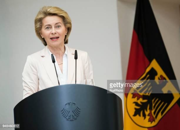 German Defence Minister Ursula von der Leyen speaks during a ceremony to honour the members of the Bundeswehr who attended the Winter Olympic Games...