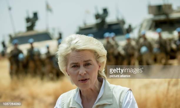 German defence minister Ursula von der Leyen speaks in front of German soldiers at Camp Castor inGao, Mali, 05 April 2016. Von der Leyen will visit...
