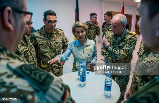 German Defence Minister Ursula von der Leyen speaks to German military personnel at Camp Sonic as she visits the German contingent at the Al Azraq...