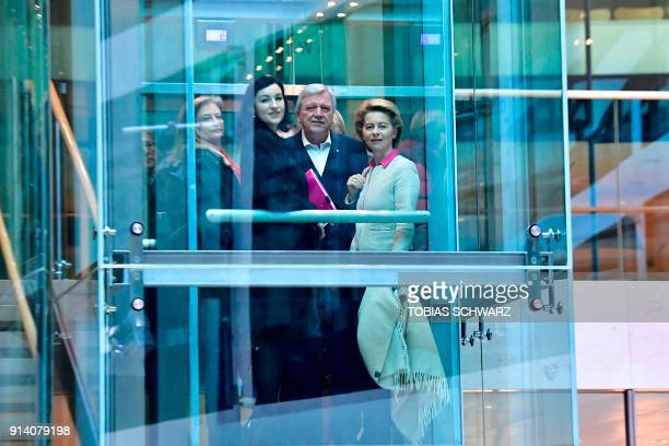 German Defence Minister Ursula von der Leyen State Premier for the state of Hesse Volker Bouffier and CSU's politician Dorothee Baer take the...