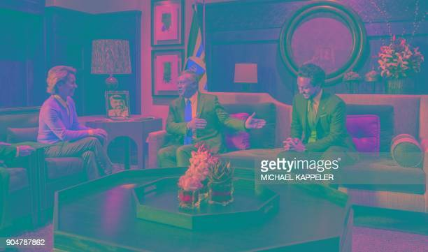 German Defence Minister Ursula von der Leyen talks to Jordan's King Abdullah II and Crown Prince of Jordan Hussein at the Royal Palace in Amman...