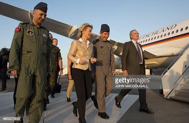 German Defence Minister Ursula von der Leyen talks to Turkish commander of the Incirlik Air Base Brigadier Generl Guelbas upon her arrival in Turkey...