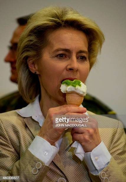 German Defence Minister Ursula von der Leyen tries a Turkish regional specialty ice cream made with goat milk during a reception in her honour at a...