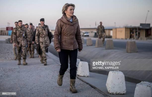 German Defence Minister Ursula von der Leyen visits Camp Marmal of the German armed forces Bundeswehr in MazariSharif Afghanistan on December 19 2017...
