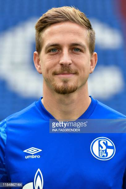 German defender Bastian Oczipka poses for a photo during a football team presentation of Schalke 04 Bundesliga squad at the VeltinsArena in...