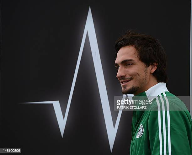 German defender Mats Hummels arrives at a press conference at Dwor Oliwski hotel in Gdansk on June 10 one day after the team's euro 2012 opening...