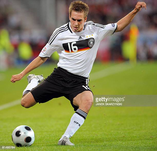 German defender Philipp Lahm kiks the ball during their Euro 2008 Championships Group B football match Germany vs. Poland on June 8, 2008 at...