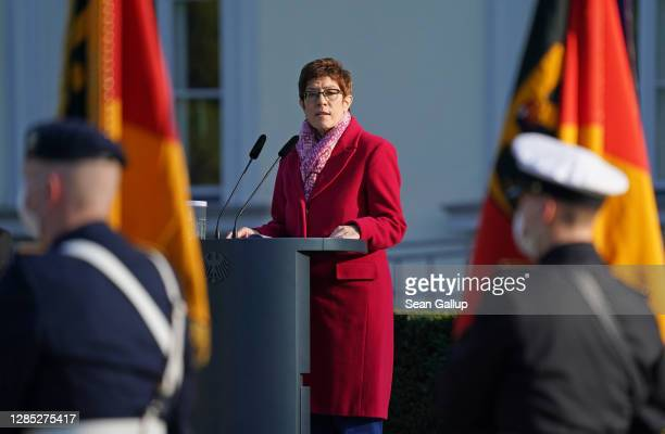 German Defense Minister Annegret Kramp-Karrenbauer addresses soldiers of the Bundeswehr, the German armed forces, at a scaled-down ceremony at...