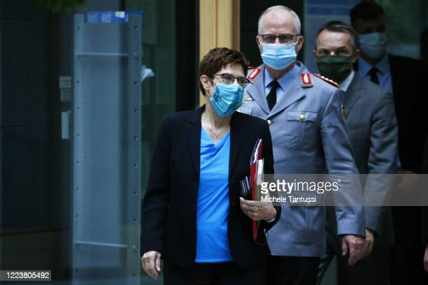 German Defense Minister Annegret Kramp-Karrenbauer and General Eberhard Zorn, Chief of Staff of the Bundeswehr, the German armed forces, arrive to...