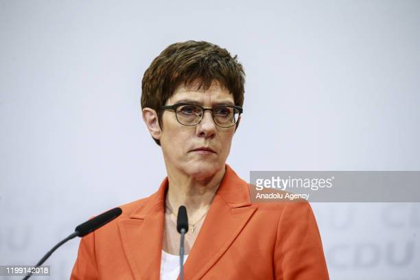 German Defense Minister Annegret KrampKarrenbauer makes a speech as she holds a press conference in Berlin Germany on February 7 2020 German...