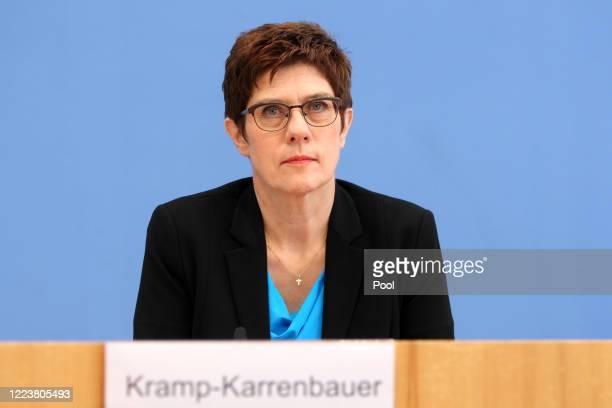 German Defense Minister Annegret Kramp-Karrenbauer speaks to the media over restructuring the KSK, the Bundeswehr's elite special forces unit, on...