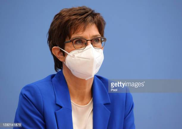 German Defense Minister Annegret Kramp-Karrenbauer speaks to the media on the launch of a one-year volunteer military service program in the...