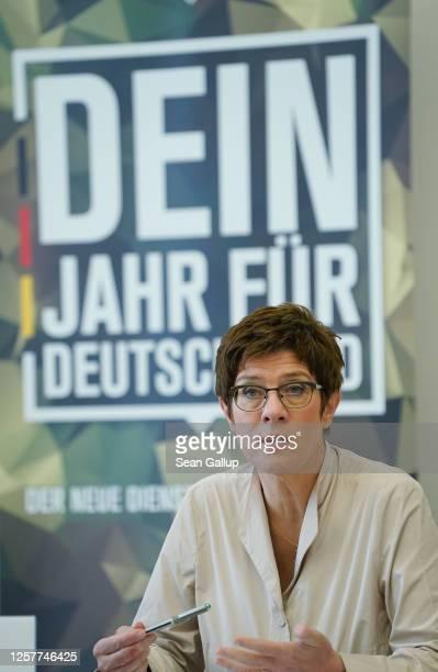 """German Defense Minister Annegret Kramp-Karrenbauer speaks to the media to present the Bundeswehr's new """"Freiwilliger Wehrdienst im Heimatschutz""""..."""