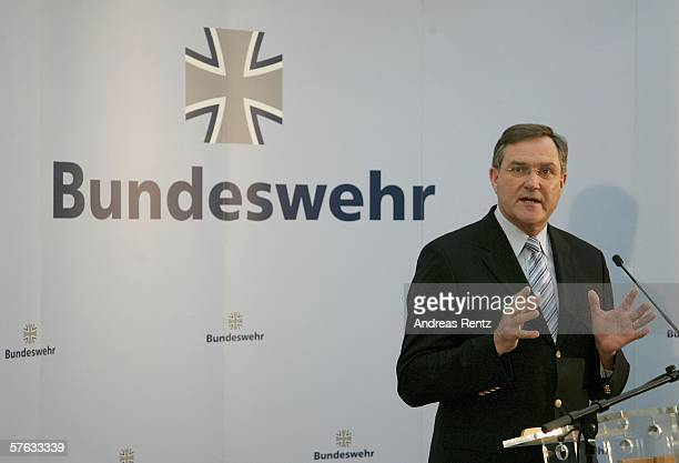 German Defense Minister Franz Josef Jung adresses the media during a news conference at the Federal Ministry of Defence headquarters on May 17 2006...