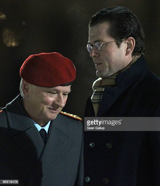 German Defense Minister KarlTheodor zu Guttenberg and General Volker Wieker salute an honour guard upon Wieker's arrival for his official appointment...