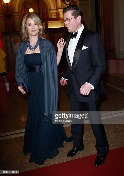 German Defense Minister KarlTheodor zu Guttenberg and his wife Stephanie zu Guttenberg attend the Sportpresseball 2010 at Alte Oper on November 6...