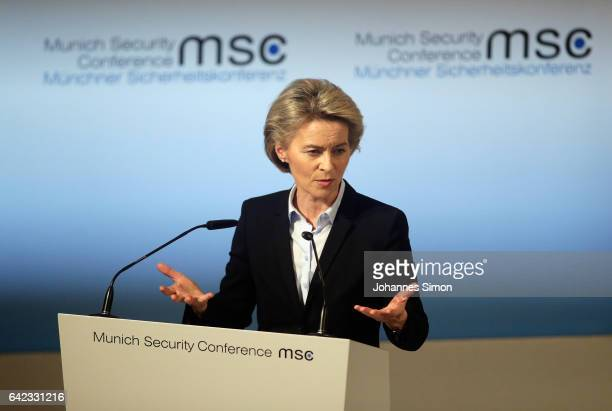 German Defense Minister Ursula von der Leyen addresses the audience at the 2017 Munich Security Conference on February 17 2017 in Munich Germany The...