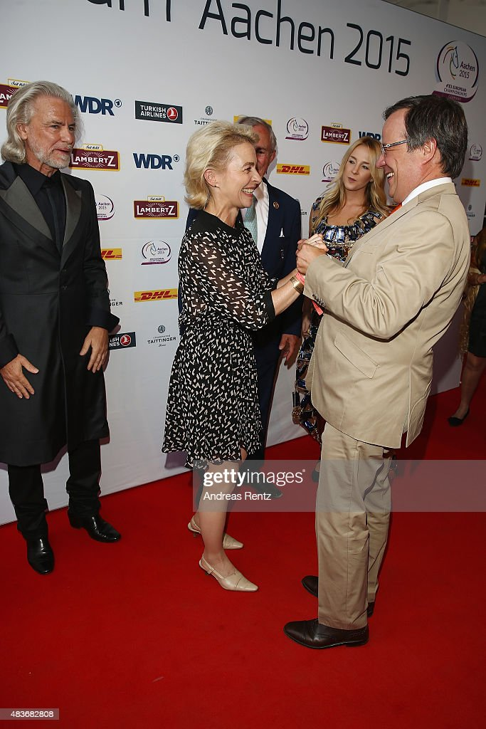 German Defense Minister Ursula von der Leyen and Armin Laschet attend the FEI European Championship 2015 media night on August 11, 2015 in Aachen, Germany.