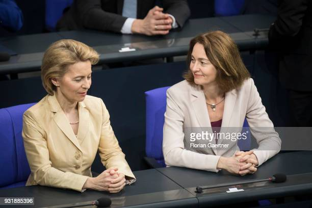 German Defense Minister Ursula von der Leyen and German Justice Minister Katarina Barley talk before the swearingin ceremony of the new federal...