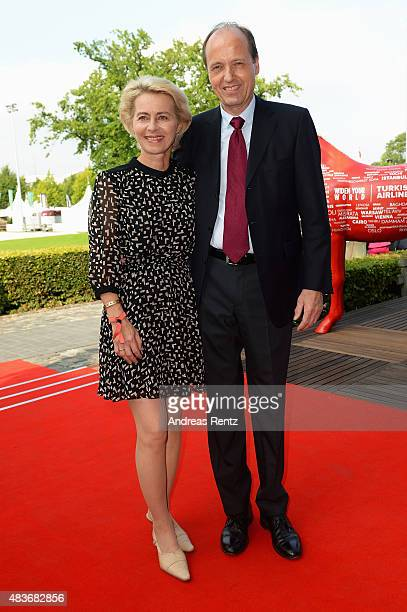 German Defense Minister Ursula von der Leyen and Heiko von der Leyen attend the FEI European Championship 2015 media night on August 11 2015 in...