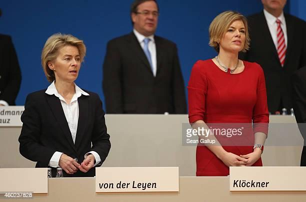 German Defense Minister Ursula von der Leyen and Julia Kloeckner head of the CDU in RhinelandPalatinate attend the annual CDU party congress on...