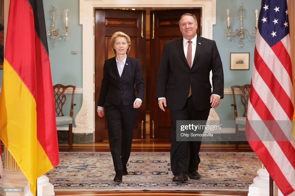 Secretary Of State Mike Pompeo Meets With German Defense Minister Ursula Von Der Leyen At The State Department