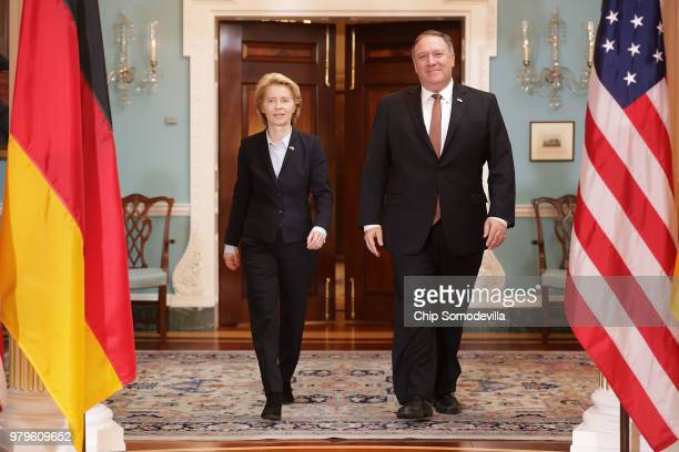 German Defense Minister Ursula von der Leyen and U.S. Secretary of State Mike Pompeo pose for photographs before meeting in the Treaty Room at the...
