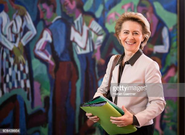 German Defense Minister Ursula von der Leyen arrives at the weekly interim government cabinet meeting on March 07 2018 in Berlin Germany