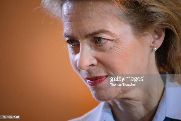 German Defense Minister Ursula von der Leyen arrives for the weekly cabinet meeting at the chancellery on December 13 2017 in Berlin Germany