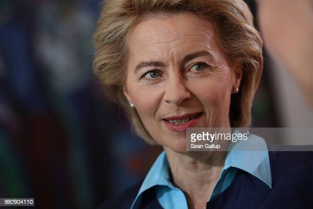 German Defense Minister Ursula von der Leyen arrives for the weekly German government cabinet meeting on July 6 2018 in Berlin Germany Today's...