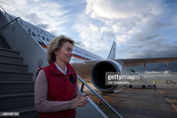 German Defense Minister Ursula von der Leyen arrives in Pristina to visit German armed forces on May 14 in Prizren Kosovo