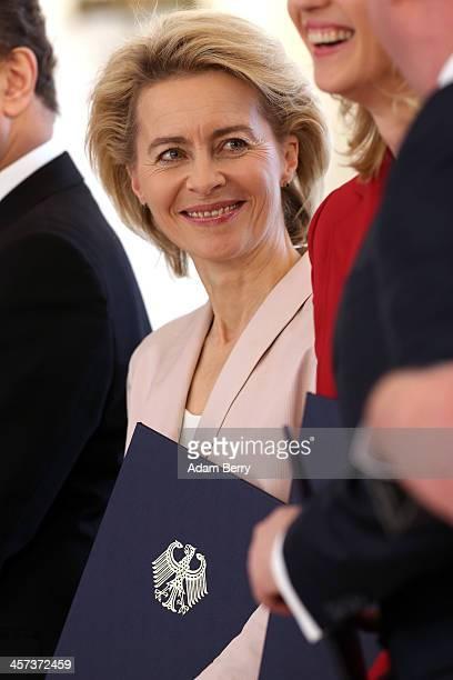 German Defense Minister Ursula von der Leyen attends a ceremony in which German President Joachim Gauck appointed the new German government cabinet...