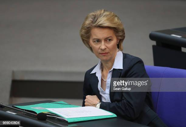 German Defense Minister Ursula von der Leyen attends debates at the Bundestag over the federal budget on May 16 2018 in Berlin Germany Today's...