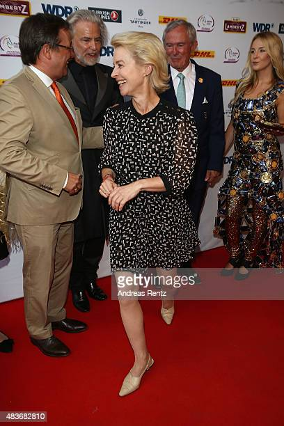 German Defense Minister Ursula von der Leyen attends the FEI European Championship 2015 media night on August 11 2015 in Aachen Germany