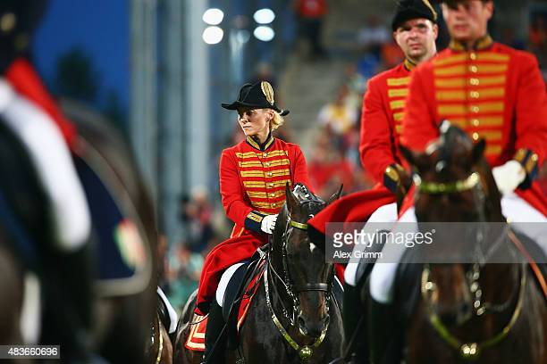 German Defense Minister Ursula von der Leyen attends the Opening Ceremony of the FEI European Championship 2015 on August 11 2015 in Aachen Germany