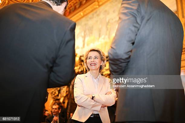 German Defense Minister Ursula von der Leyen attends the reception for the 70th anniversary of 'DER SPIEGEL' at the town hall on January 6 2017 in...